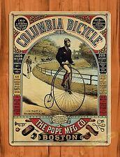 "TIN SIGN ""Columbia Bicycle Boston"" Penny-Farthing Tire Garage Decor Shop"