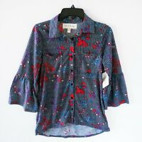 French Laundry Women Floral Blue Striped 3/4 Bell Sleeve Blouse Size Small NWT