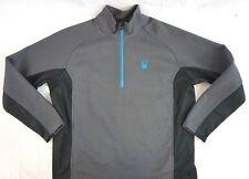 NEW Spyder Men's Gray w Teal/Black Foremost Half Zip Core Sweater Jacket XXL