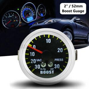 Ø 52mm LED 30 in.Hg 30 PSI Manomètre Pression Jauge Turbo Boost Fibre Carbone