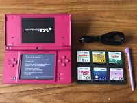 Nintendo DSi Pink Handheld System Console Bundle +6 Games & Charger