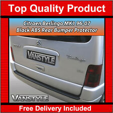 CITROEN BERLINGO MK1 96-07 REAR BUMPER PROTECTOR TOUGH ABS BLACK STOPS DAMAGE