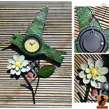 Hummingbird Wall Clock Art Deco Style Flower Analogue Display Indoor Outdoor NEW