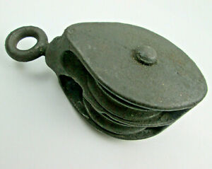 Medium Metal Swivel Ring Double Pulley Block 4 11/16 x 2 1/4 wide x 1 7/8 thick