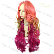 Wiwigs Stunning Long Pink & Purple Red Mix Wavy Cosplay Skin Top Ladies Wig