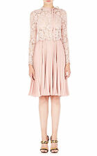 $6390 New VALENTINO Dentelle Lace Fluid Plisse Crepe Dress PALE PINK Rose Nude 8
