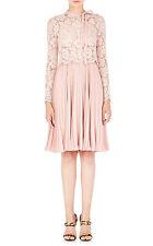 $6390 New VALENTINO Dentelle Lace Fluid Plisse Crepe Dress PALE PINK Rose Nude 8