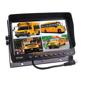 "9"" Digital Quad Split Screen Monitor For Truck Trailer Backup Security System"