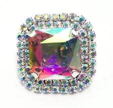 1 PEZZO Pietra Quadrata con strass e pietra Crystal Aurora Boreale mm 3,5x3,5