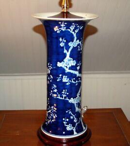 CHINESE Hawthorn PORCELAIN LAMP Trumpet Vases Prunus Blue & White 7-0