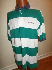 Vintage Gant Rugby Polo Mens Large Green Striped. Cotton. USA.
