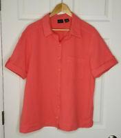 Erika Women's Plus Size 1X Coral Shirt Top Button Down Cotton Blouse RN# 40299