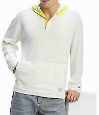 Tommy Hilfiger Mens Surf n Sun Hooded Sweater White with Yellow Trim  XXL