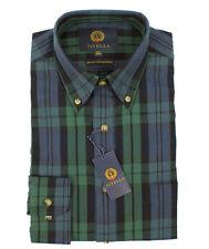 Viyella Black Watch Tartan 80/20 Cotton Wool Blend Button Down Collar Shirt