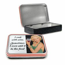 I Cook With Wine Retro Lady Funny Vintage Metal Keepsake Tin Gift Box 50505