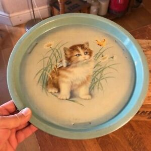 Vintage Painted Metal Serving Tray with Cute Kitten & Butterfly Design – Kitsch!