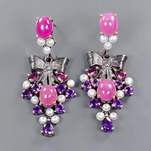 Vintage Ruby Earrings Silver 925 Sterling   /E57806