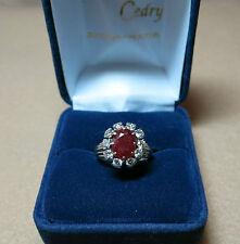Bague platine diamants et rubis