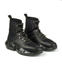 Jimmy Choo Men's Black Leather Vachetta/Knit Diamond Spaceboot US 10 UK 9 EU 43