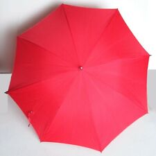 "Old Red Umbrella Parasol Carved Plastic Handle 27"" long folded FREE SH"