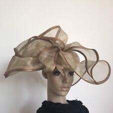Ladies Brown Elegant Organza Race Wedding Melbourne Cup Fascinator Hat H460