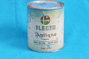 VINTAGE FLECTO ANTIQUE FINISH CAN - DELFT BLUE - USED- 1/4 LEFT -COLLECTORS ITEM