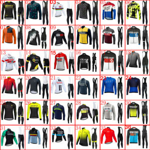 Mens Long Sleeve Cycling Clothing Set Bicycle Wear Bike Jersey Padded Pants Suit