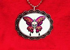 SKULLERFLY SKULL BUTTERFLY DICE FLAMES TATTOO NECKLACE