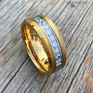 8MM Gold Mens Tungsten Carbide Ring w/ 9 AAA Zircon Wedding Engagement Bands