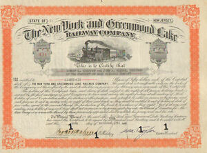 New York and Greenwood Lake Railway Company > 1941 New Jersey stock certificate