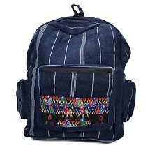 "Blue Jean Stripe Backpack Tapestry Bag Hippie Boho 100% Cotton 15"""