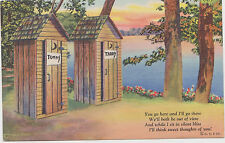 Vintage Curt Teich & Co Postcard Privy Series C-271 Outhouse Tommy Tabby WOW