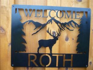 Elk Scene moutains custom sign welcome steel metal name