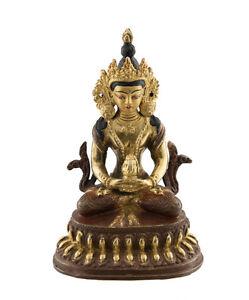-statue Tibetischer Von Buddha Amitabha Kupfer Und Vergoldung Nepal AFR9-3480