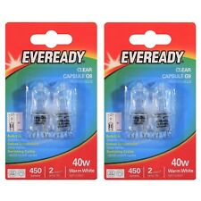 4 x Eveready G9 40W Halogen Bulb 450 Lumens 220V Clear Capsule Lamp DIMMABLE