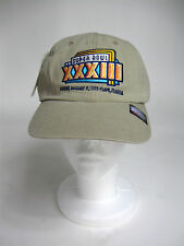 SuperBowl XXXIII NFL Beige Buckle Strap Embroidered Baseball Cap New Old Stock
