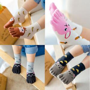 Kids Girls Cotton Cartoon Animal Five Fingers Toe Ankle Socks Anti-Slip Socks