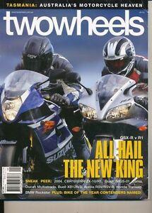 Two Wheels Magazine Sept 2003 Multistrada R1 GSX-R1000 MGS-01 XB12R Transalp