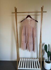 Zara Nude Pink Lace Frill Layered Dress Size XS - Like New