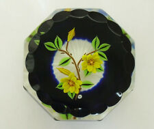 """Ltd Ed William Manson """"Weight in a Crate"""" Marigolds Faceted Paperweight - 2 7/8"""""""