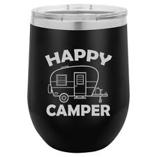 Stemless Wine Tumbler Coffee Travel Mug Glass Double Wall Insulated Happy Camper