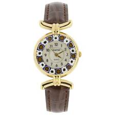 with Leather Band - Brown GlassOfVenice Murano Glass Millefiori Watch