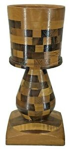 Hand Turned Multiple Wood Type Checkerboard Pattern Pillar Candle Holder
