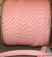 """50 YDS 1/2"""" EXTRA-wide Double Fold Bias tape American Made PINK & White Gingham"""