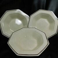 Nikko Classic Collection Tan Speckled Stoneware Brown Rim Octagon Bowl 3 Set
