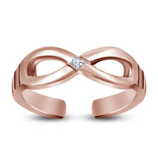 Sterling Silver Infinity Round Diamond Women's Adjustable Toe Ring