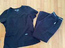 Grey's Anatomy Scrubs Set Shirt Pants Black Active by Barco Women's Large L