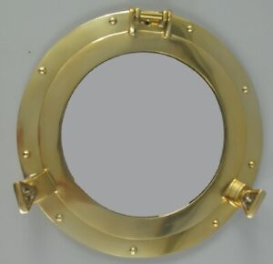 Porthole Mirror, Maritime Aluminium Wall Mirror IN Gold Polished 11 13/16in