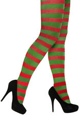Ladies Red and Green Stripy Tights Elf Xmas Christmas Tights Fancy Dress Costume