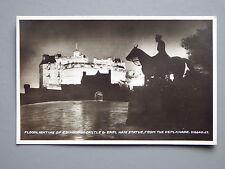 R&L Postcard: Edinburgh Castle & Earl Haig Statue Floodlighting Valentine's